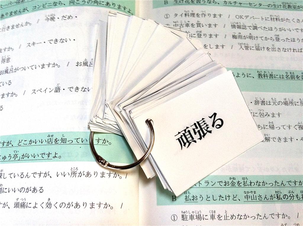 Japanese kanji flash cards and grammar textbook