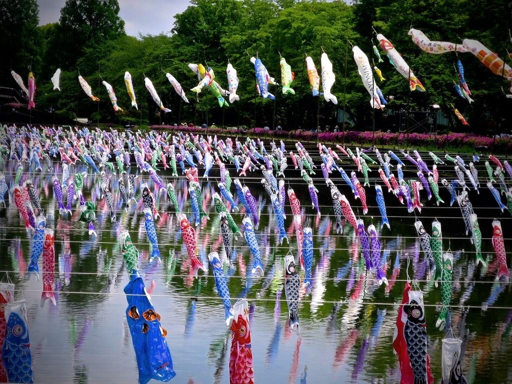Thousands of koi nobori carp flags over the river at Tatebayashi