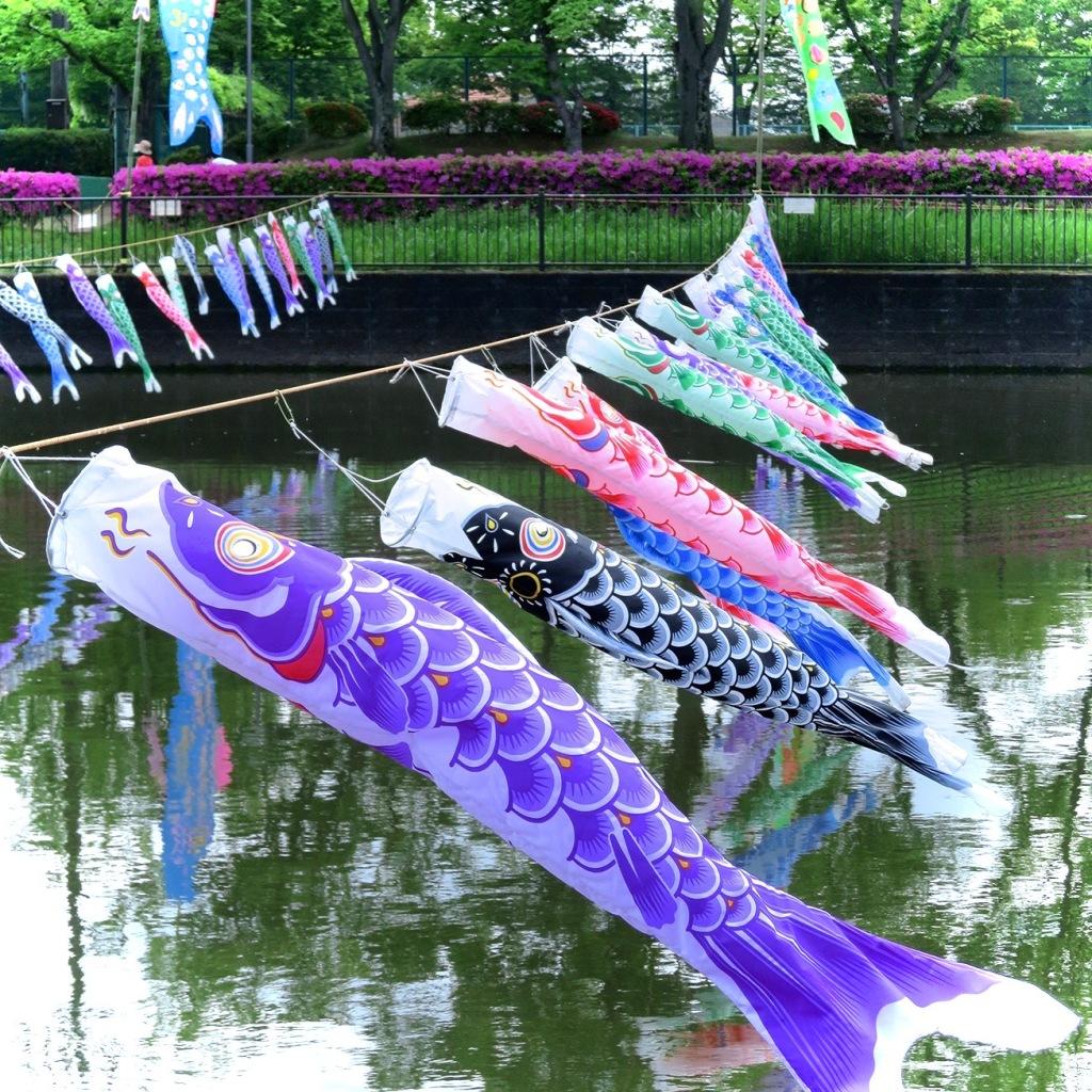 Koi nobori carp flags over the river at Tatebayashi