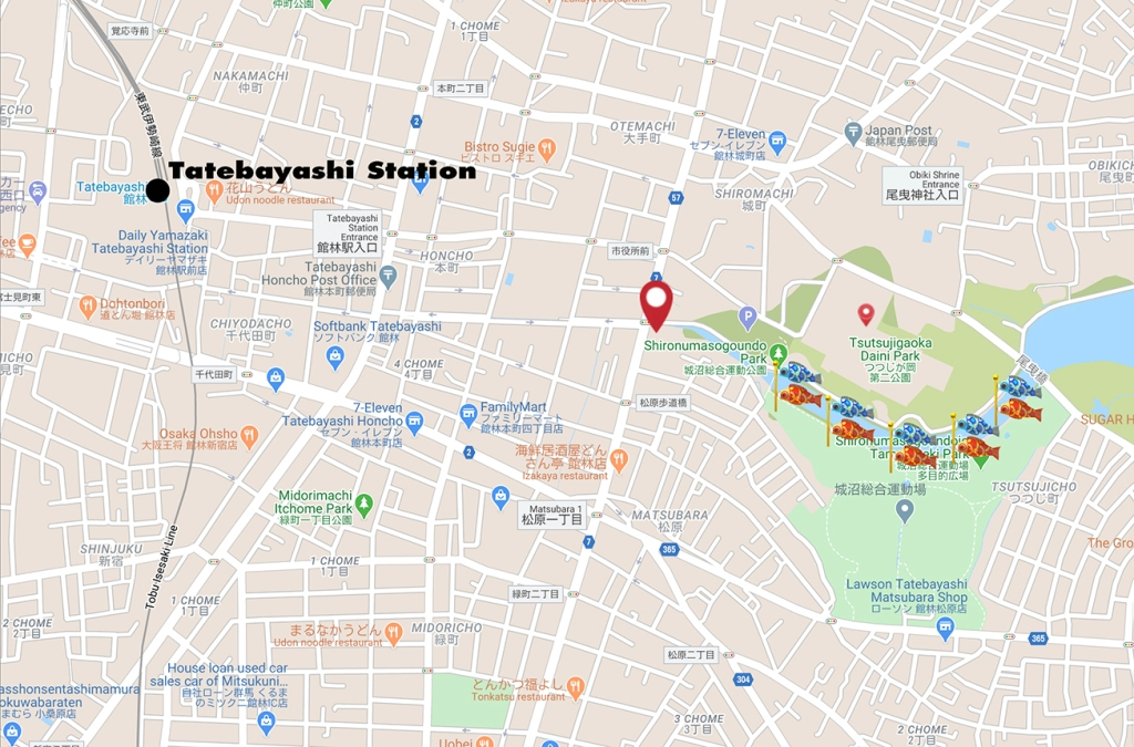 Map of route from Tatebayashi Station to where the koi nobori fish flags are