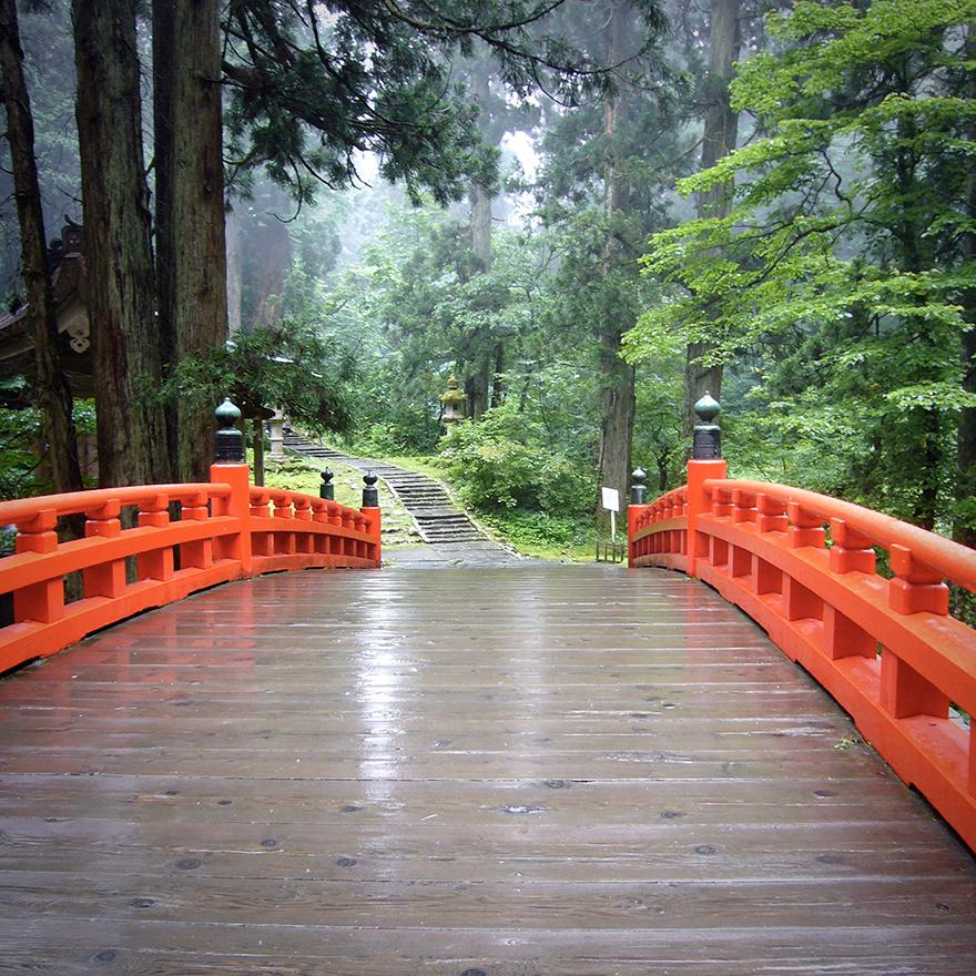 Red bridge on pilgrimage route at Haguro-san