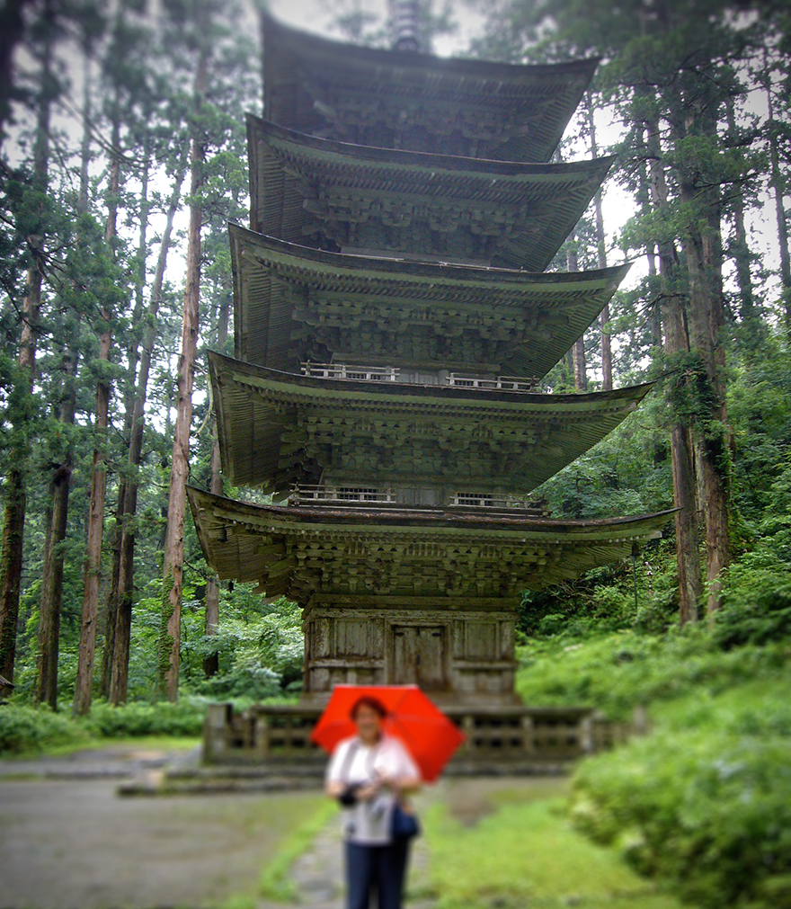 Thousand year old five story wooden pagoda on pilgrimage route at Haguro-san