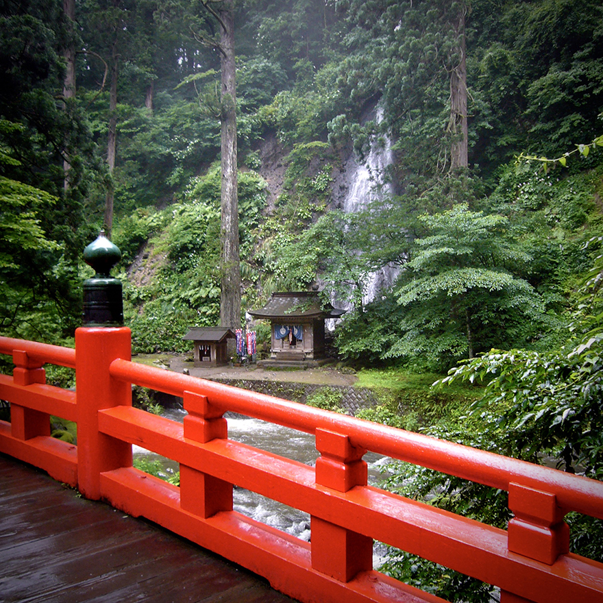 Sacred waterfall on pilgrimage route at Haguro-san