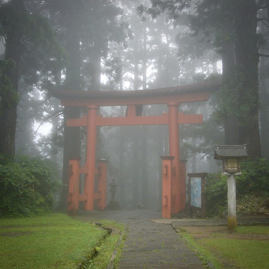 Torii gate in mist at Saikan shukubo at Haguro-san