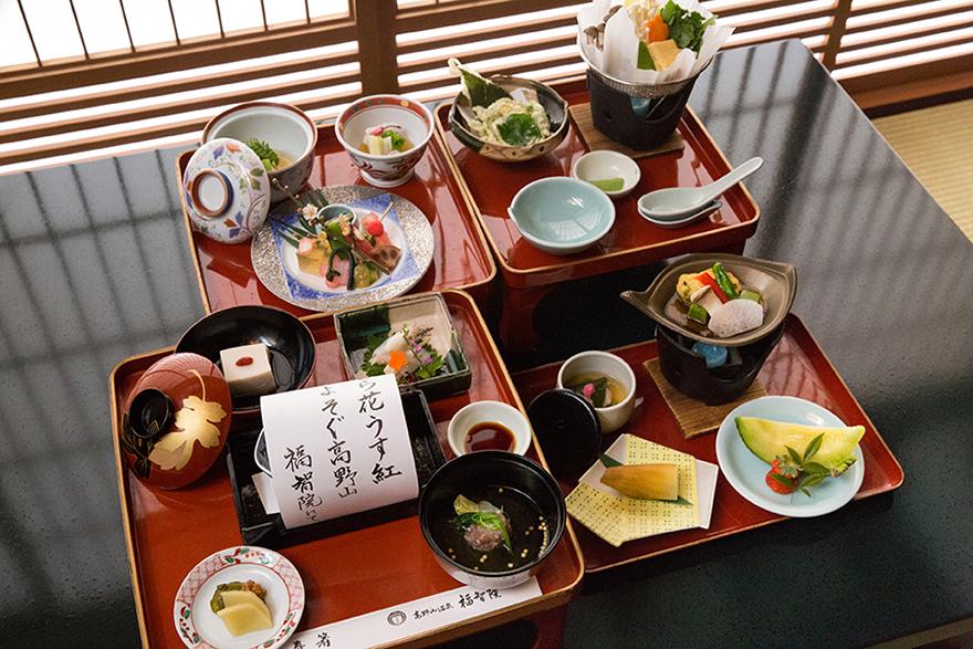 Evening shojin ryori meal at shukubo at Koya-san