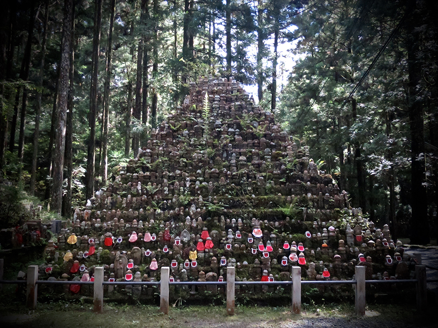 Pyramid of Jizo figures in Koya-san graveyard