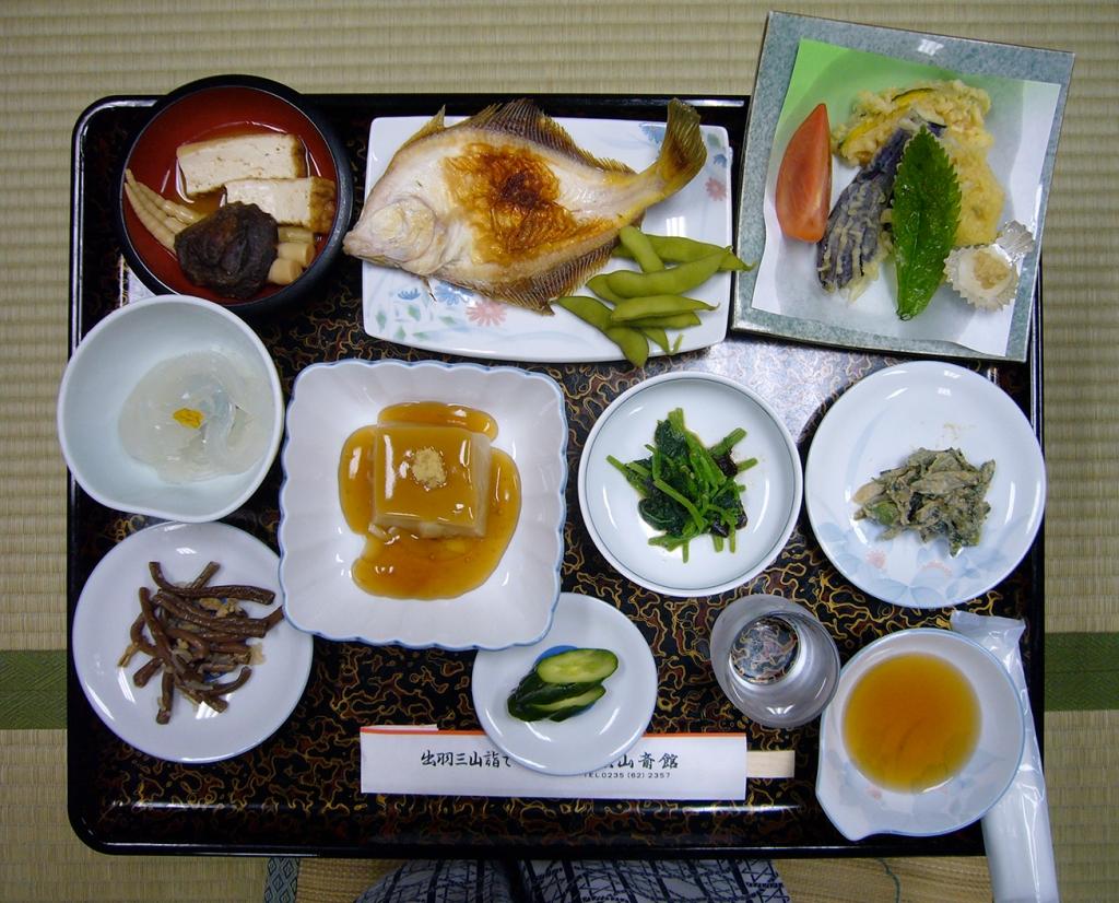 Evening shojin ryori meal at Saikan shukubo at Haguro-san