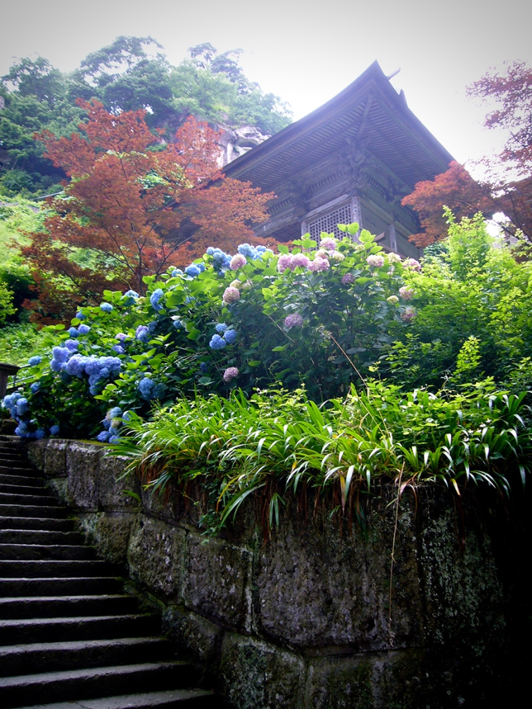 The final stairs to Yamadera in Yamagata
