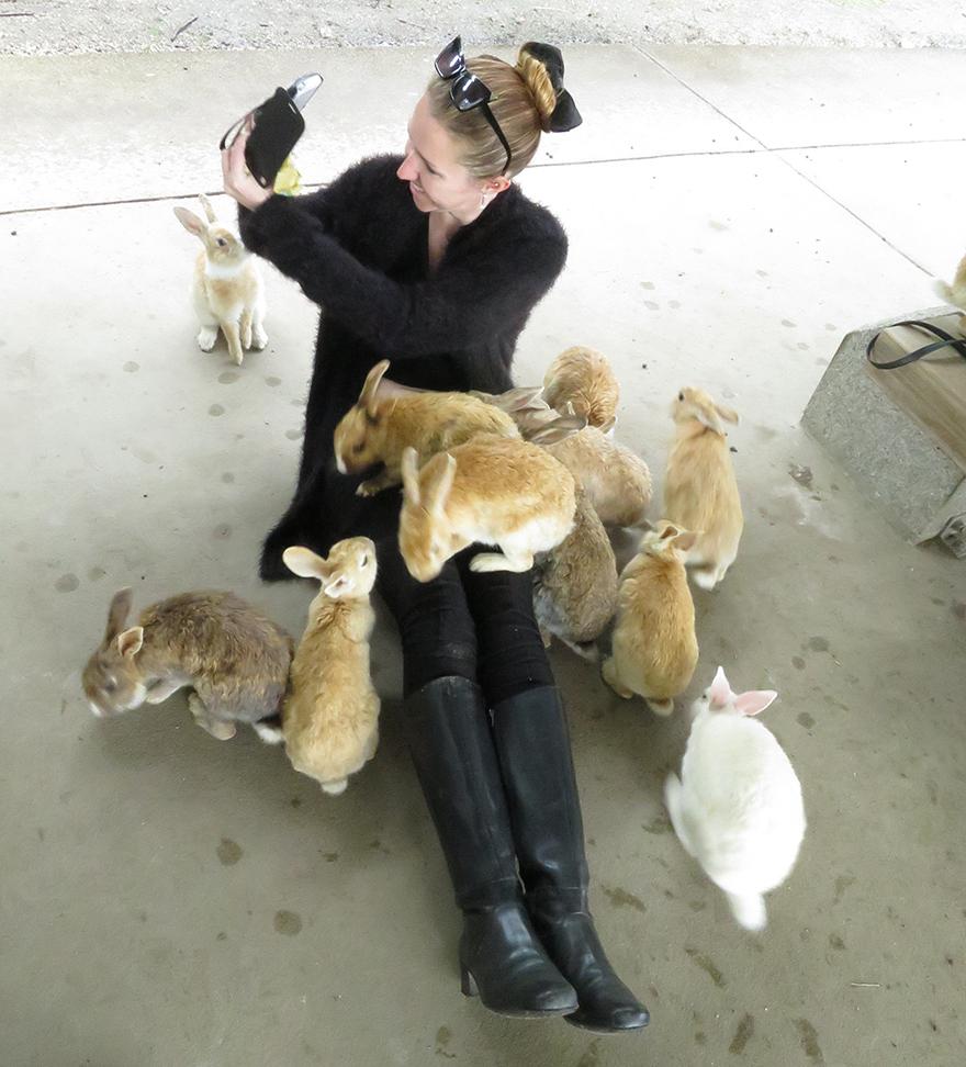 Rabbits gathering around visitor taking selfie on Okunoshima Bunny Island