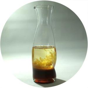 Photo of soy-lemon dressing in clear bottle