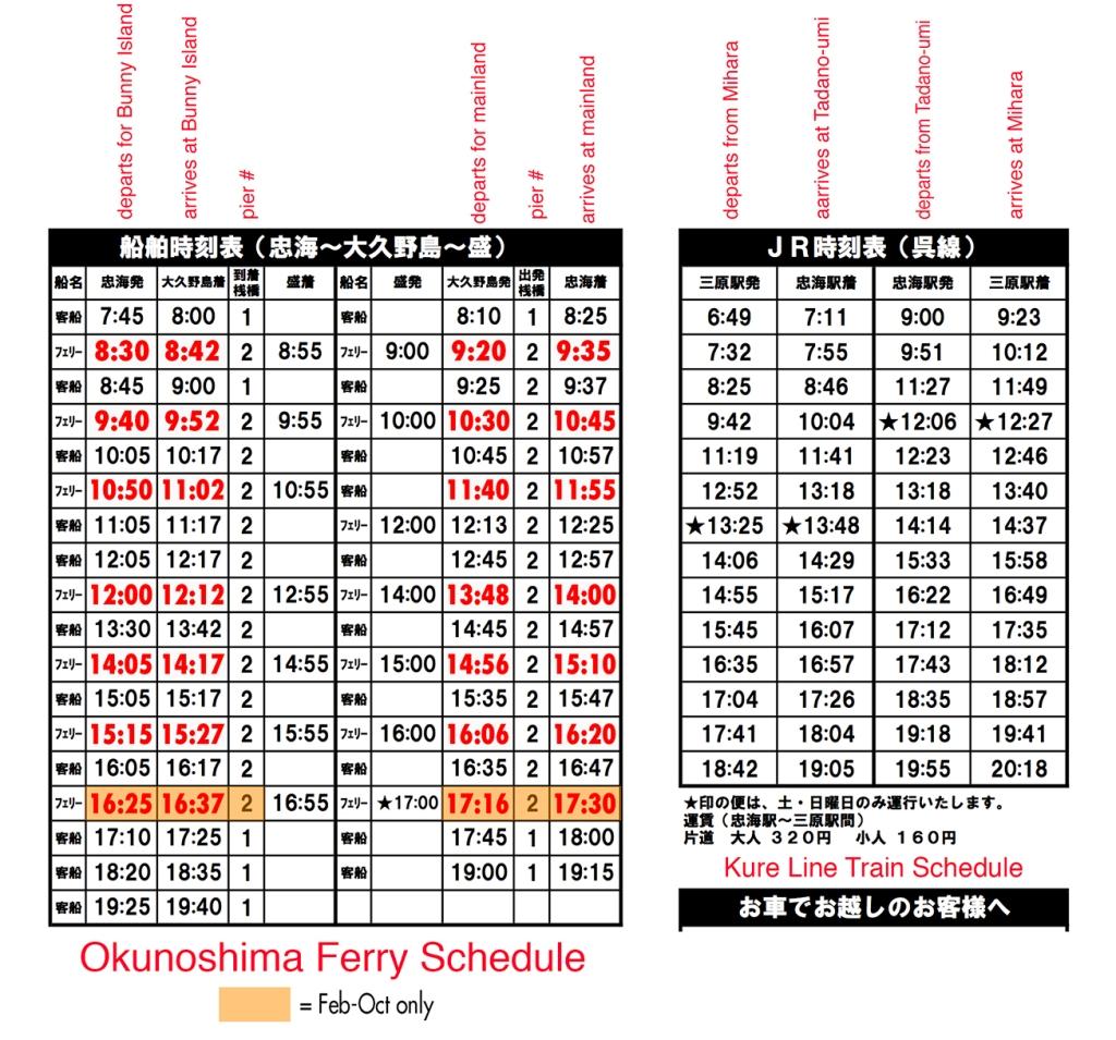 Ferry schedule to Okunoshima Bunny Island