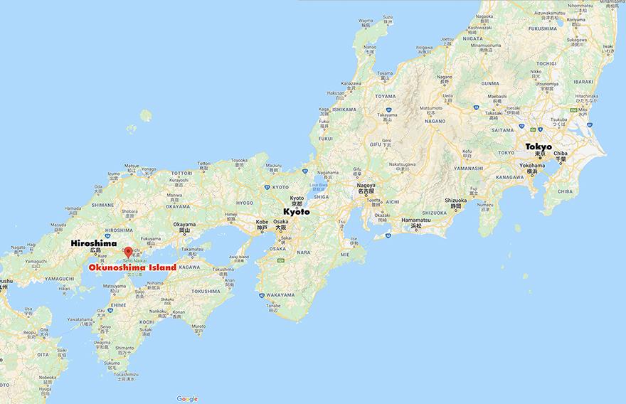 Okunoshima Bunny Island map