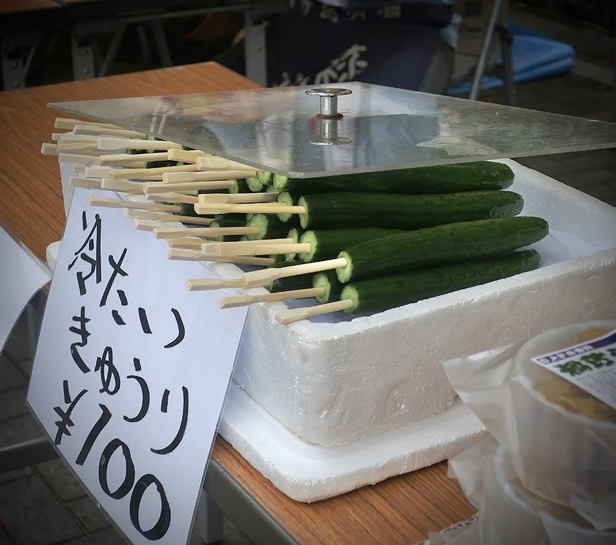 Cucumbers on a stick at festival in Narita