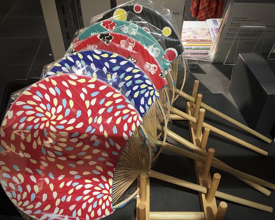 Selection of Japanese uchiwa summer fans at Shibuya Loft