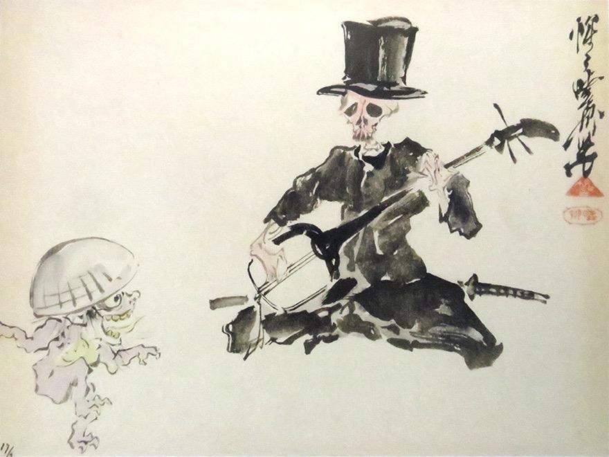 Kyosai painting of skeleton playing shamisen