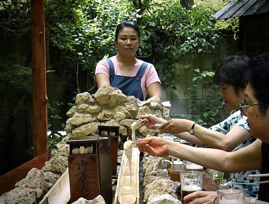 Catching nagashi somen noodles at Chaya Kado in Kamakura