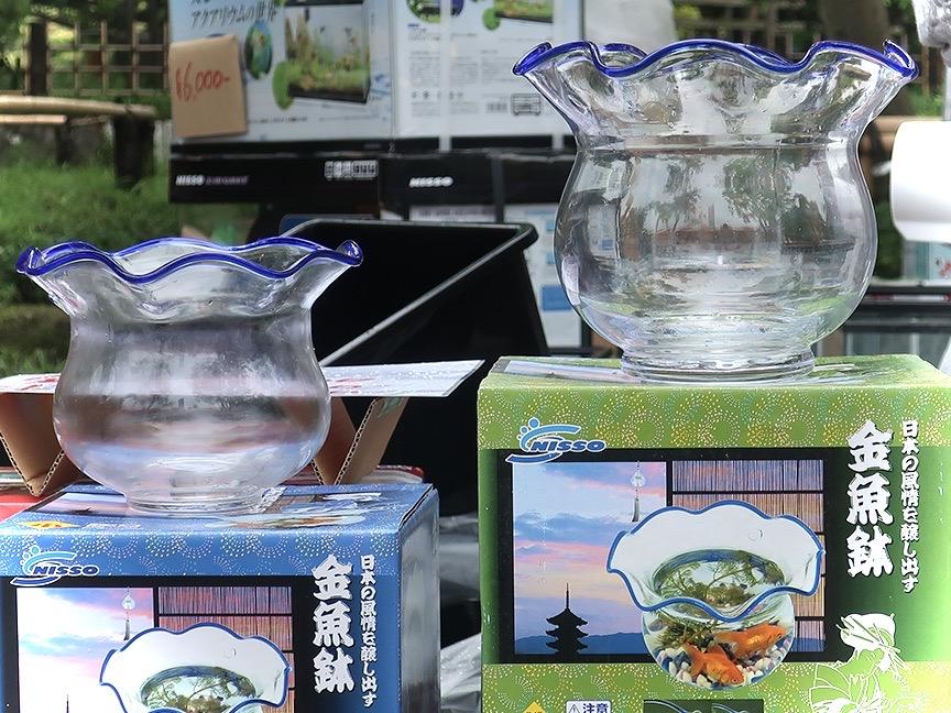 Traditional Japanese goldfish bowls at the Edogawa Goldfish Festival