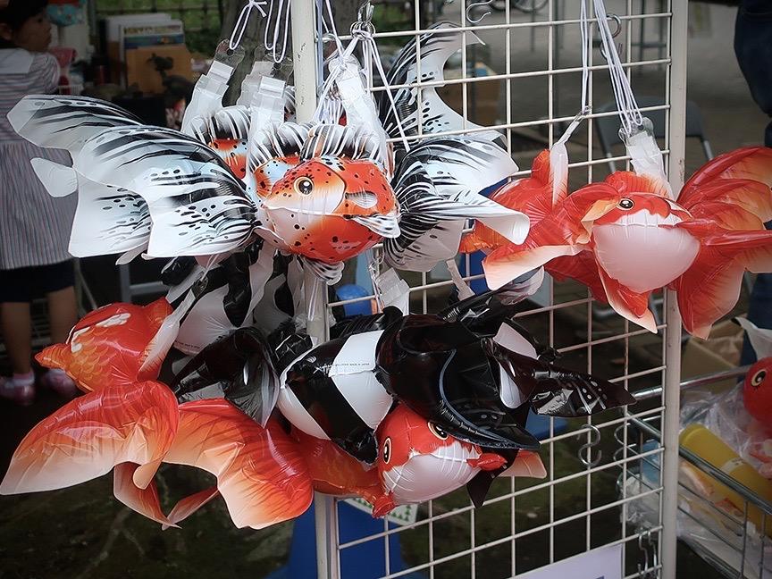 Fish-shaped balloon souvenirs at the Edogawa Goldfish Festival