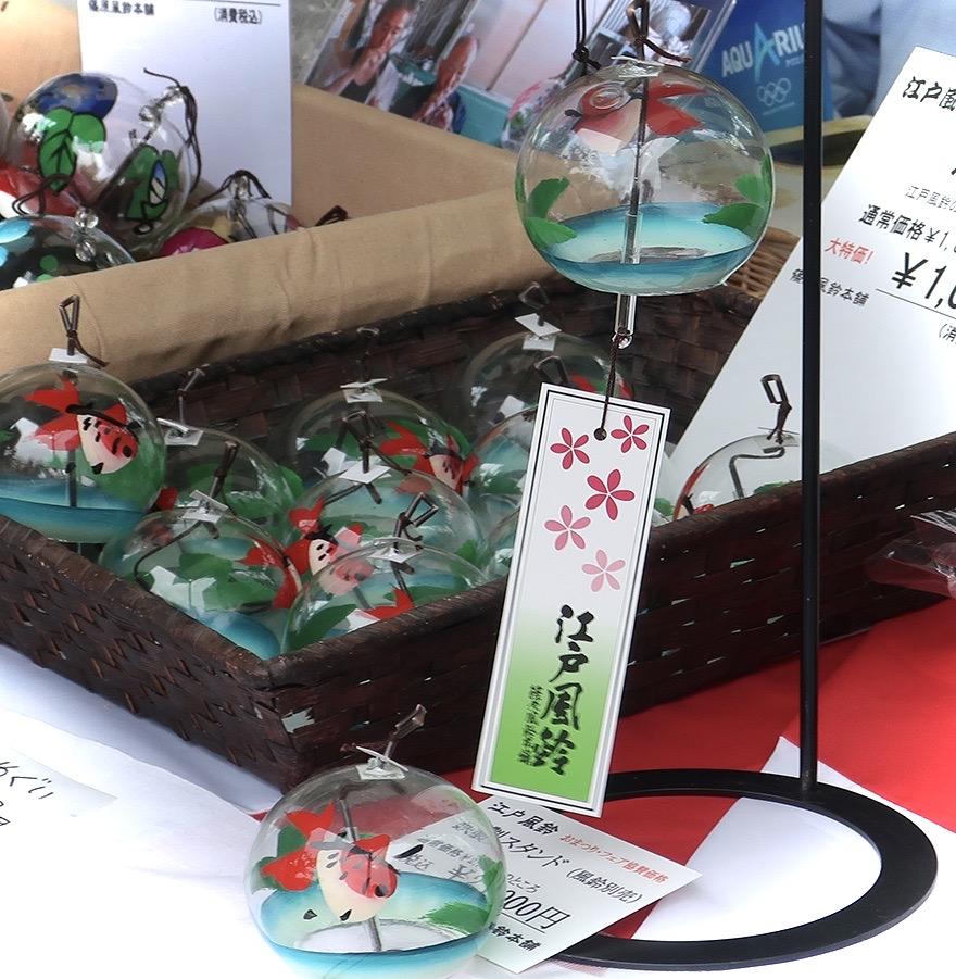 Goldfish themed furin bell souvenirs at the Edogawa Goldfish Festival