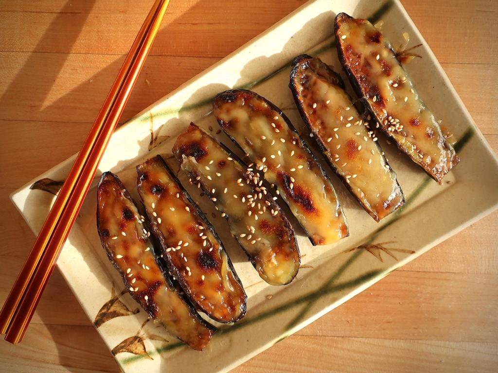 Eggplant with Dengaku Sauce (Nasu Dengaku) on Japanese plate