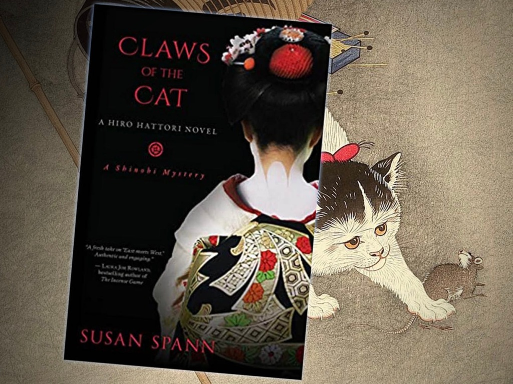 Cover of Claws of the Cat by Susan Spann with cat and mouse ukiyoe print