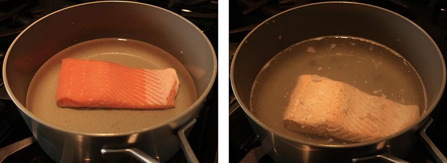 Salmon fillet in poaching pan