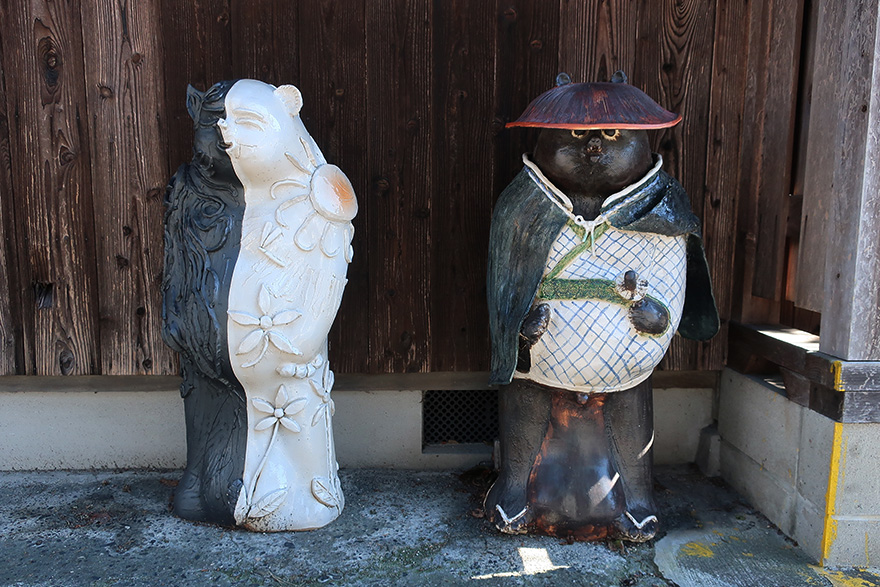 Artist-designed ceramic tanuki figures in Shigaraki