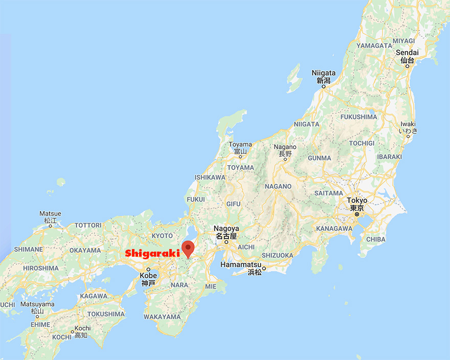 Map showing Shigaraki, Japan