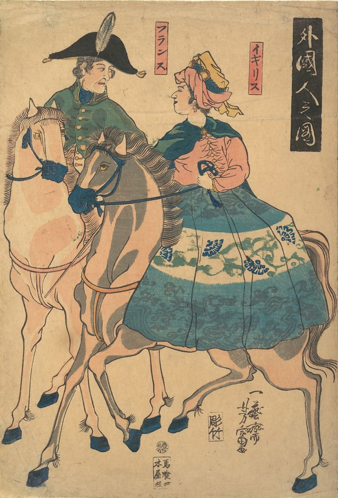 Woodblock print of foreigners on horseback