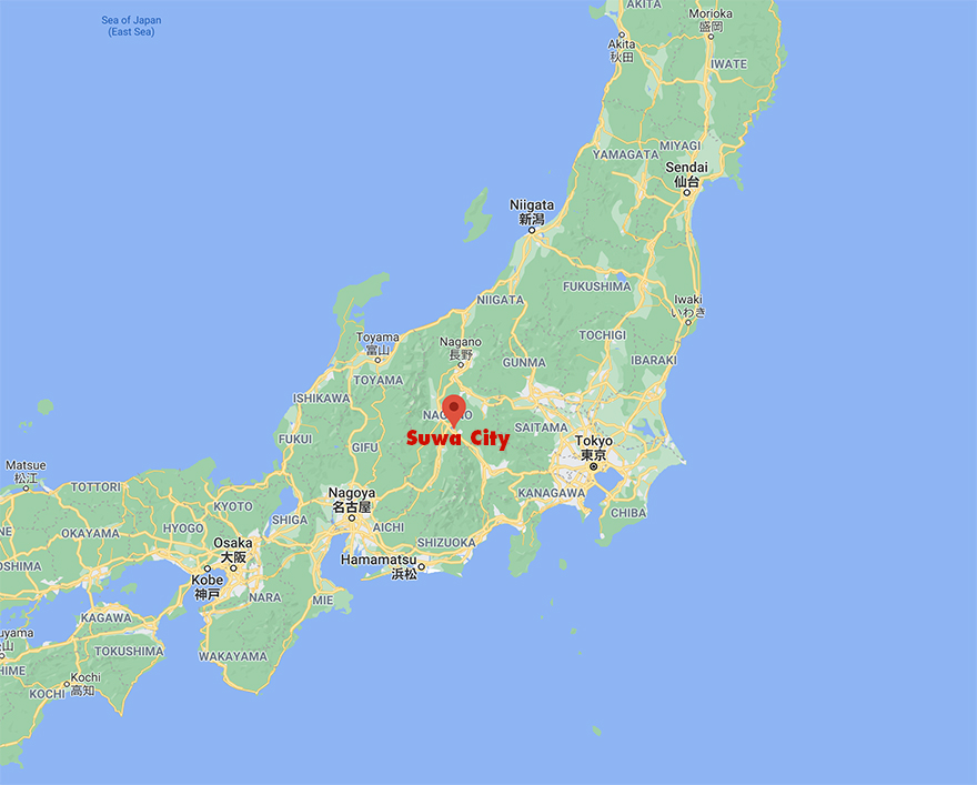 Map of Japan showing Suwa City