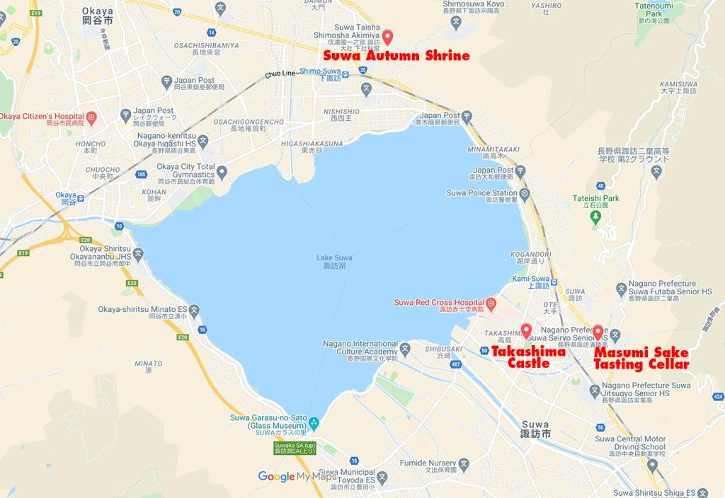 Map of Suwa City showing suwa Autumn Shrine, Takashima Castle, and the Masumi Sake Tasting Cellar