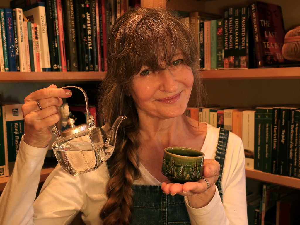 Author Jonelle Patrick offering sake