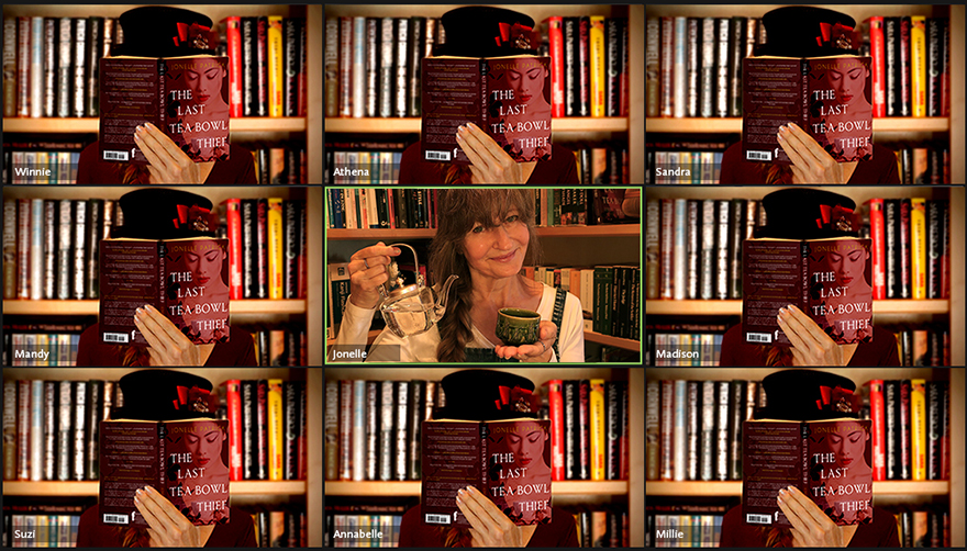 Zoom grid book group screen with Jonelle Patrick reading The Last Tea Bowl Thief