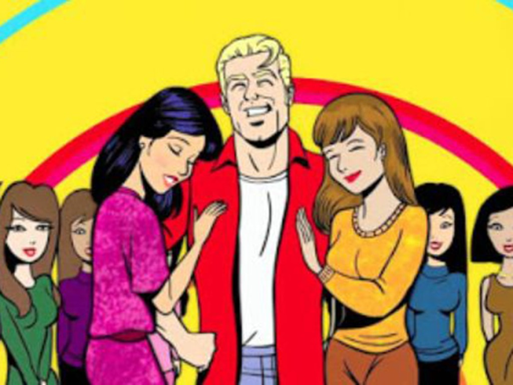 Illustration of western man with many Japanese girlfriends