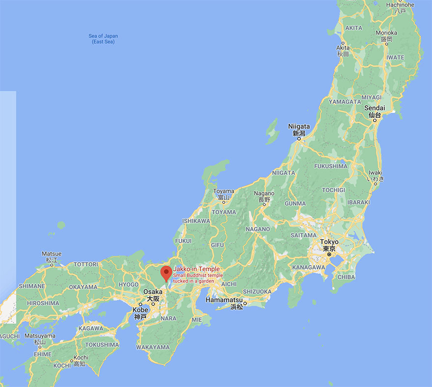 Map of Japan showing Jakko-in convent in Ohara, near Kyoto