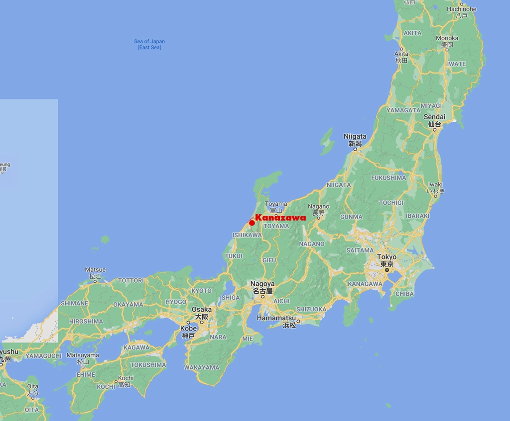 Kanazawa Japan map