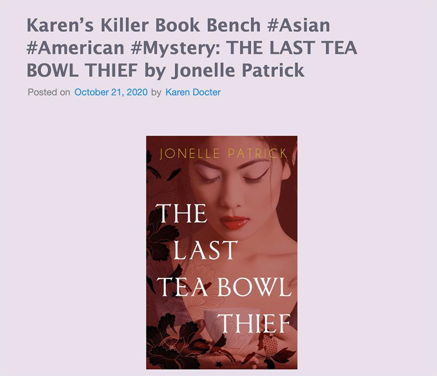 Karen's Killed Book Bench blog excerpt
