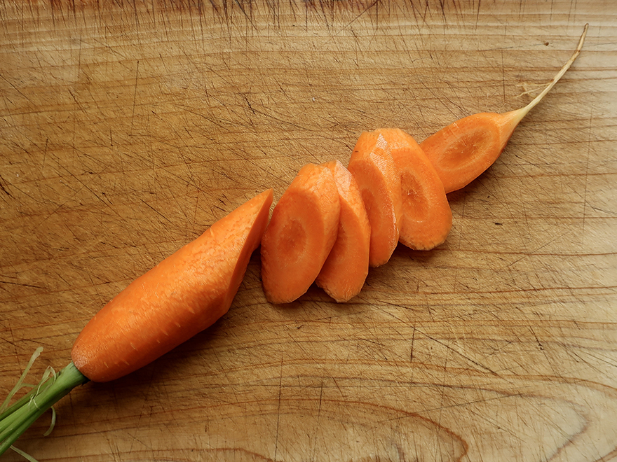 Carrots sliced on the diagonal