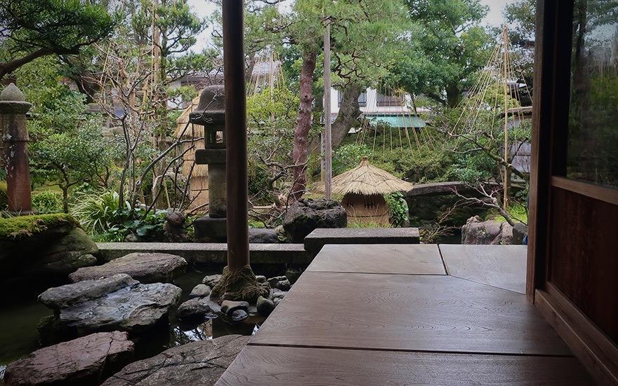 Engawa veranda and garden at the Nomura Samurai Residence in Kanazawa