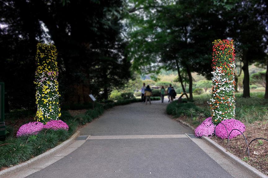 Chrysanthemum pillars marking path to chrysanthemum exhibition at Shinjuku Gyouen National Garden in Tokyo