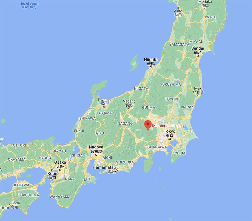 Misotsuchi icicles in Chichibu Saitama map