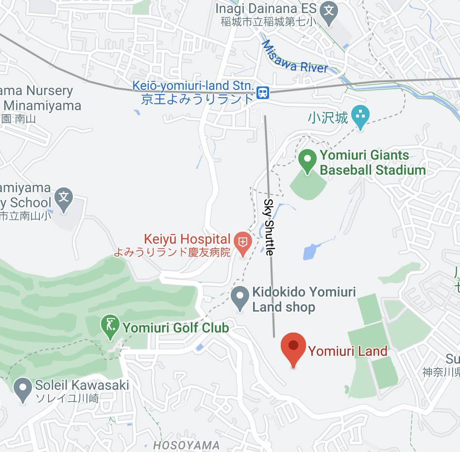 Yomiuriland Jewelluminations local map