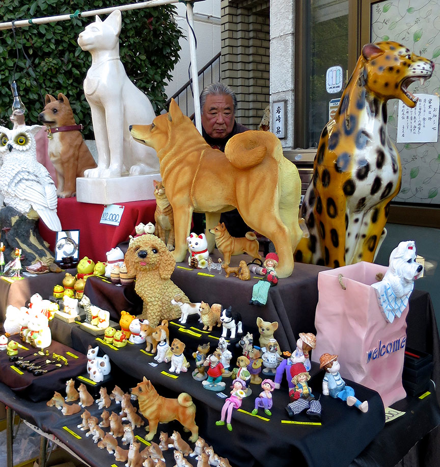 Pet replica statues being sold at the Setagaya Boroichi flea market in Tokyo
