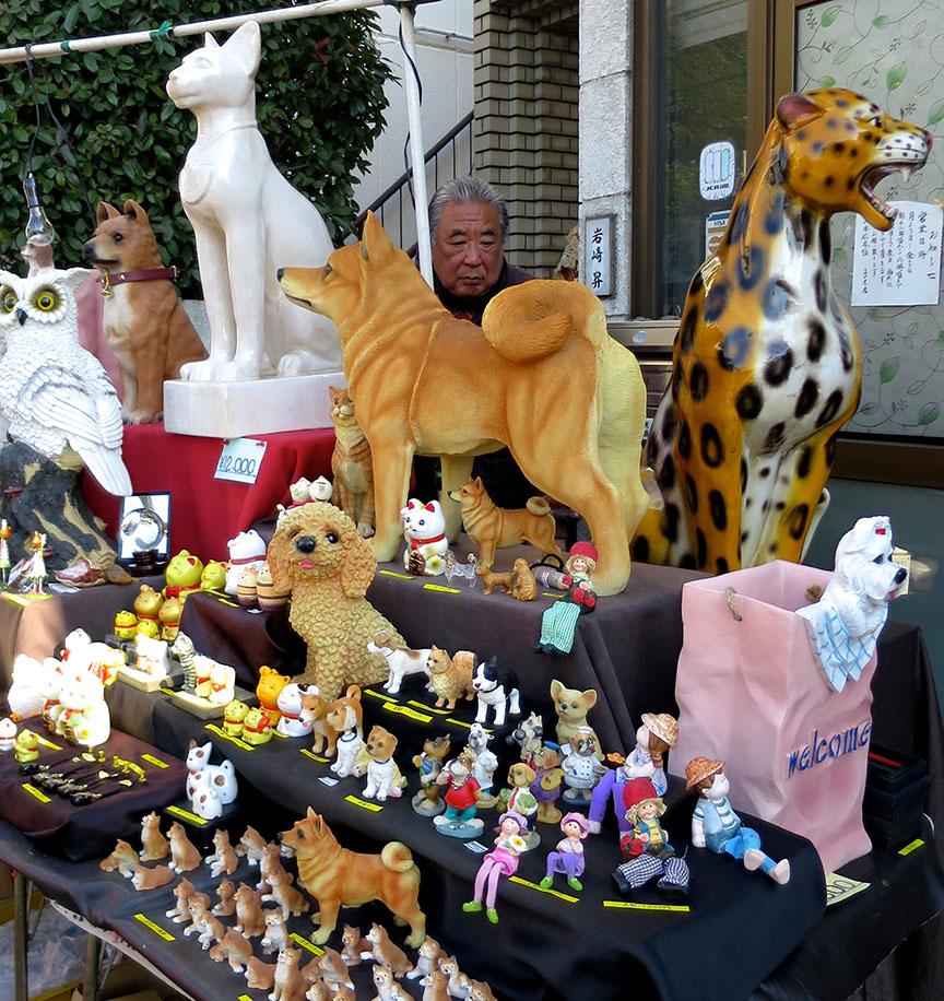 Pet replica statues being sold at the Setagaya Boroichi flea market in Tokyo