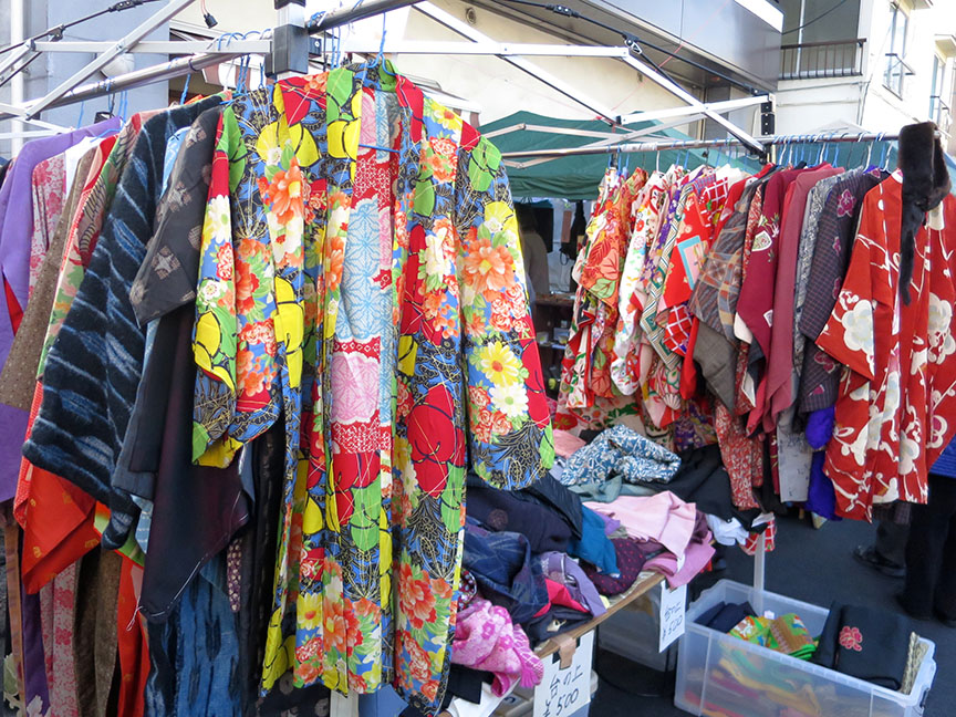 Secondhand vintage kimono being sold at the Setagaya Boroichi flea market in Tokyo