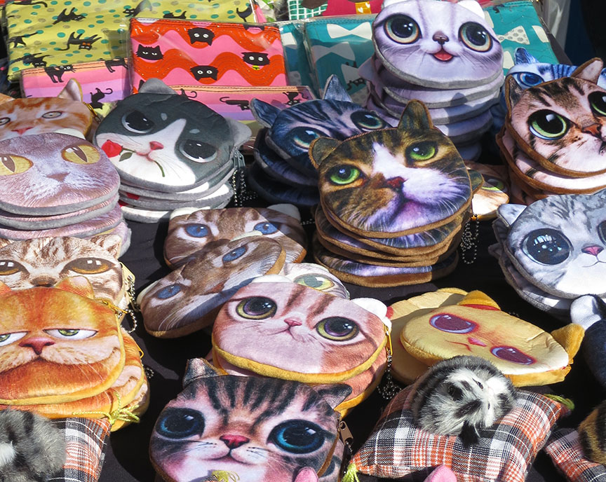 Cat face coin purses being sold at the Setagaya Boroichi flea market in Tokyo