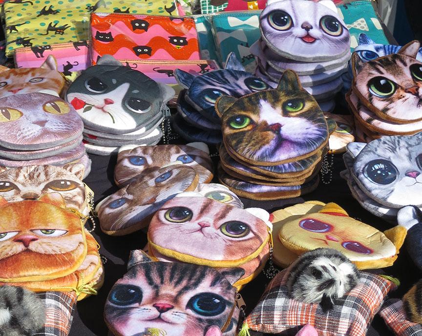 Cat face coin purses being sold at the Setagaya Boroichi flea market in Tokyo