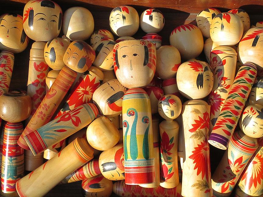 Kokeshi dolls being sold at the Setagaya Boroichi flea market in Tokyo