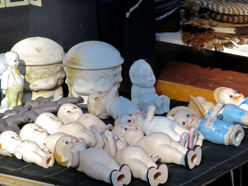 Vintage kewpie dolls being sold at the Setagaya Boroichi flea market in Tokyo