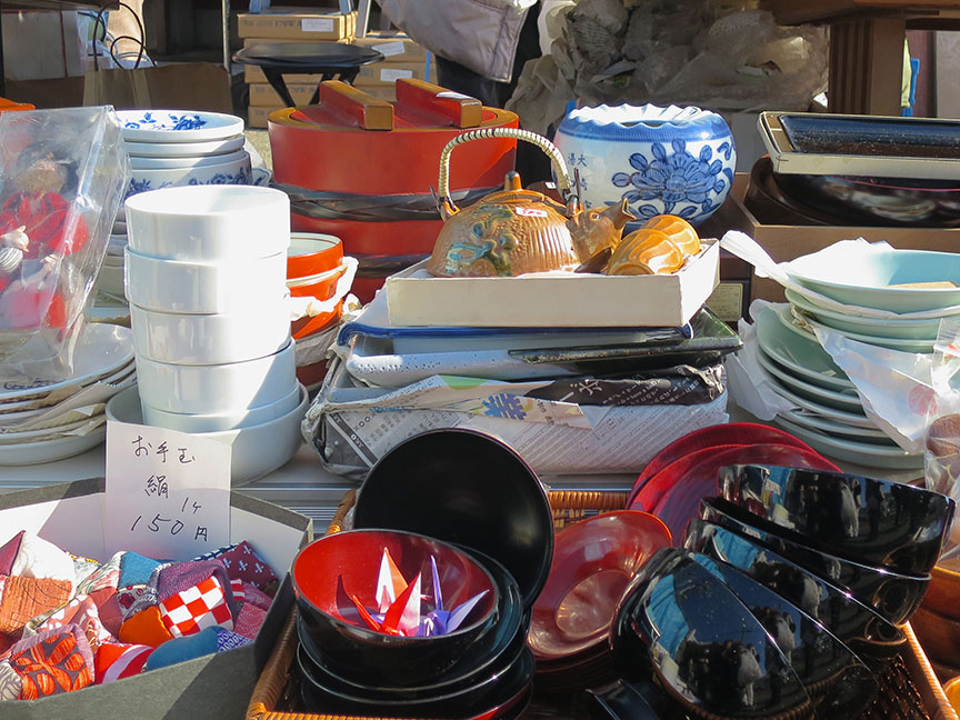 Goods being sold at the Setagaya Boroichi flea market in Tokyo